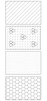 Oznaczenia stosowane w projekcie domu: pustak ceramiczny, bloczek z betonu komórkowego, bloczek wapienno-piaskowy, izolacja termiczna