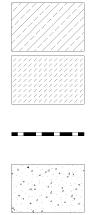 Oznaczenia stosowane w projekcie domu: element żelbetowy, element betonowy, izolacja przeciwwilgociowa, podsypka